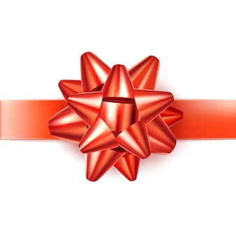 お祝いの休日のための現実的な赤いサテンの弓の結び目