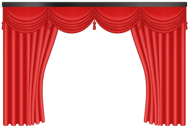 Realistic red silk curtains backdrop entrance