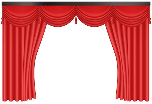 リアルな赤いシルクのカーテンの背景の入り口