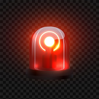 Realistic red siren. blink lighting like security lamp attention. vector emergency police flasher on black transparent background