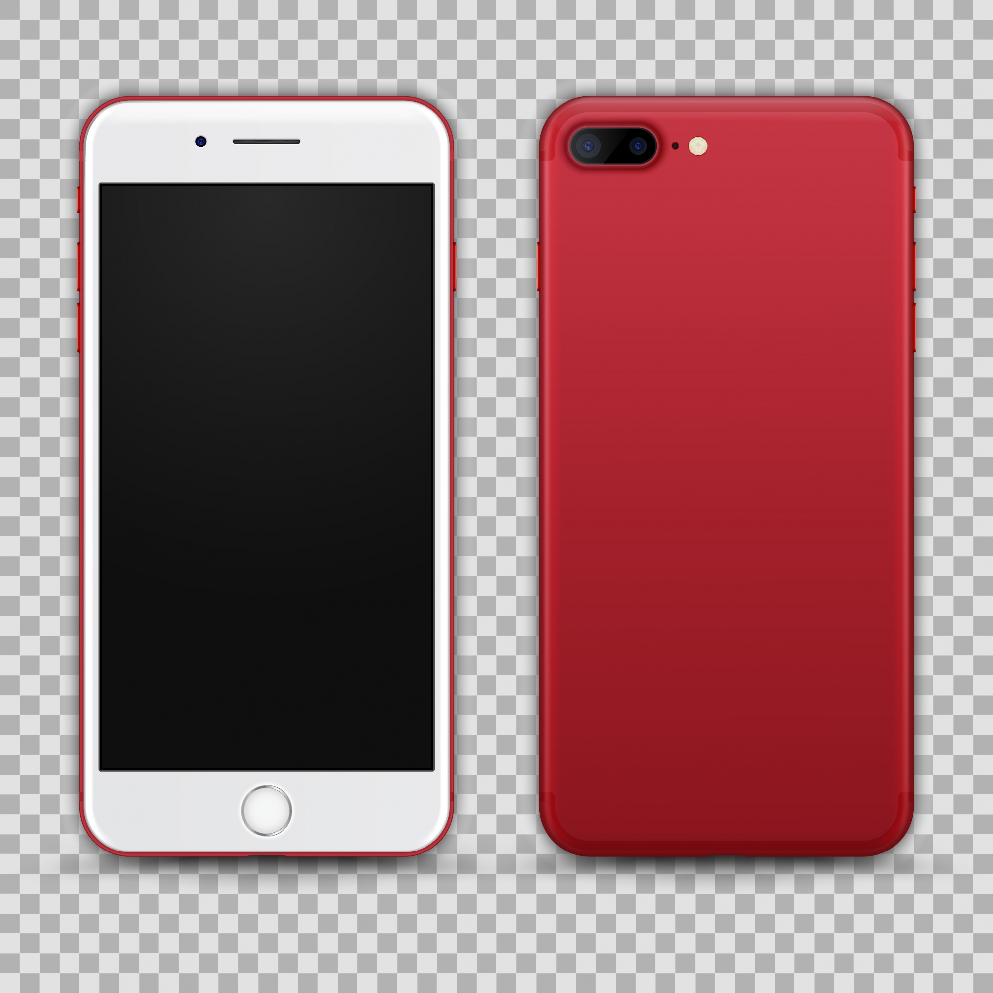 Realistic Red Smartphone isolated on Transparent Background. Front and Back View