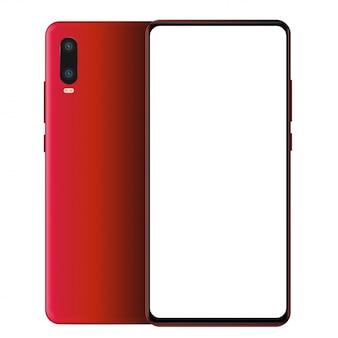 現実的な赤いスマートフォンモックアップの前面と背面。