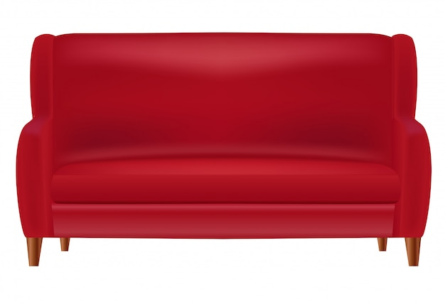 Realistic red sofa  front view isolated on white
