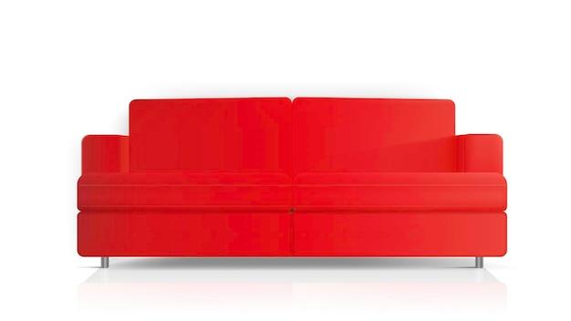 현실적인 빨간 소파. 흰색 배경에 고립 된 빨간 소파입니다. 인테리어 디자인 요소.