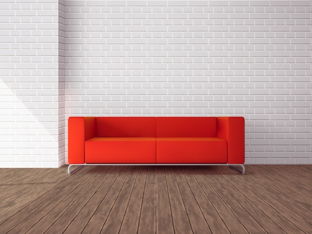 Realistic red sofa in room