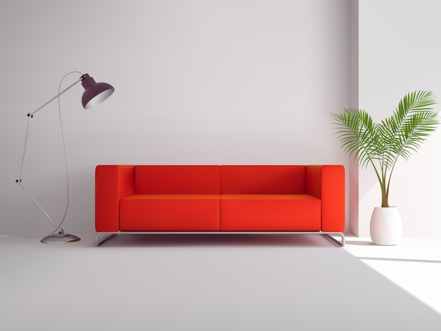 Realistic red sofa