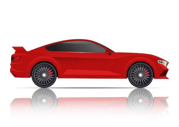 リアルな赤いスポーツクーペ車の側面図。