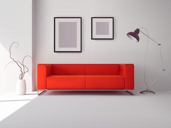 Реалистичный красный квадратный диван с лампой