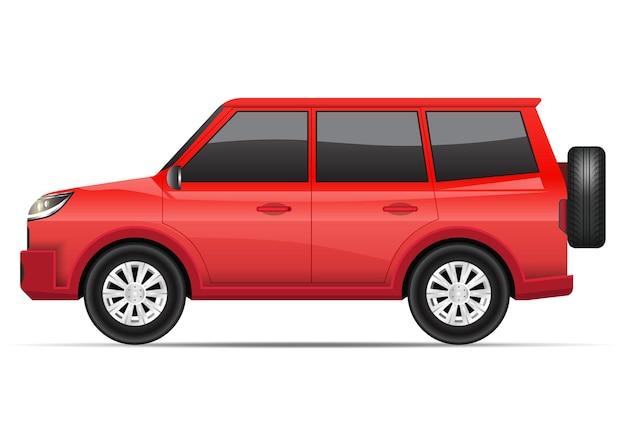 白で隔離のリアルな赤いsuv車の側面図。