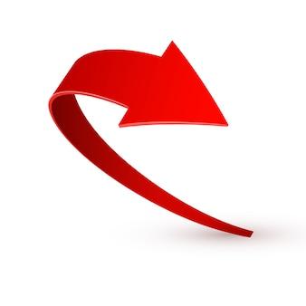 現実的な赤い渦巻く矢印。白のイラスト