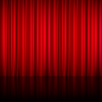 Realistic red theatrical closed curtain of shiny material with reflection on stage floor vector illustration