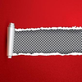 Реалистичная красная рваная открытая бумага с копией пространства. векторные иллюстрации. рваные края.
