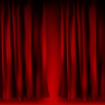 Реалистичные красные бархатные шторы