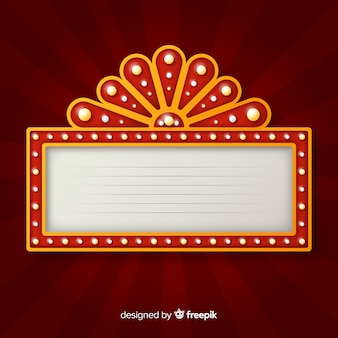 Realistic red vintage theatre sign