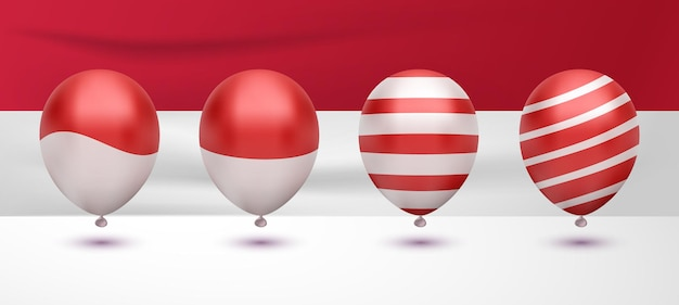 Realistic red white balloon flag for indonesian independence day