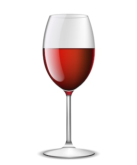 Реалистичное красное вино в бокале на белом фоне