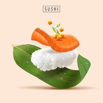 生の魚と魚卵の3dイラストでリアルなさわやかな寿司