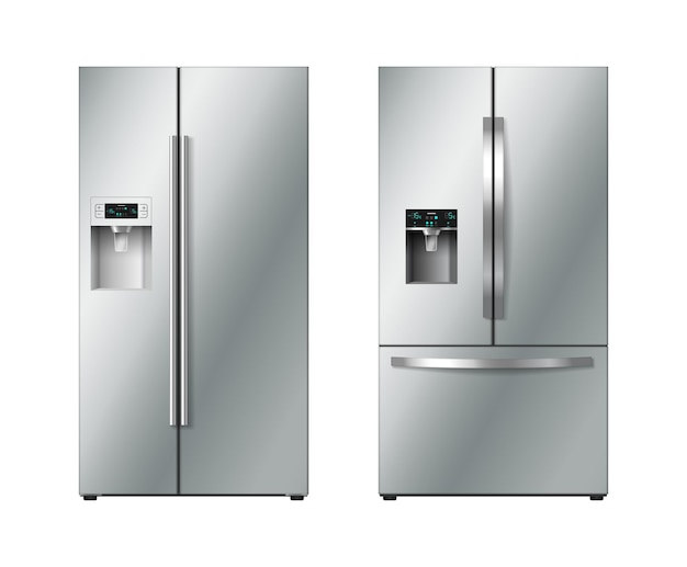 Realistic refrigerator with double doors set