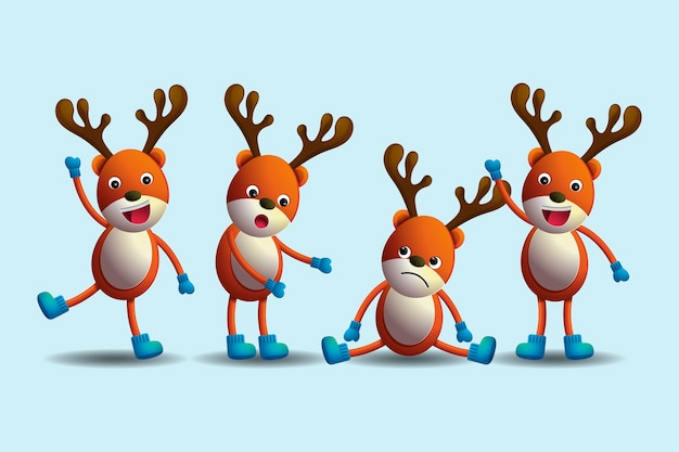 Realistic reindeer cartoon christmas characters