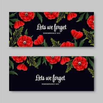 Set di banner orizzontali realistici per il giorno della memoria