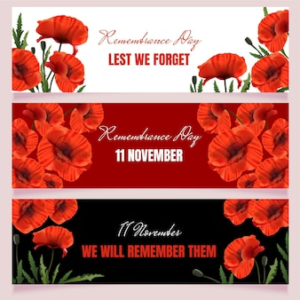 Realistic remembrance day horizontal banners set