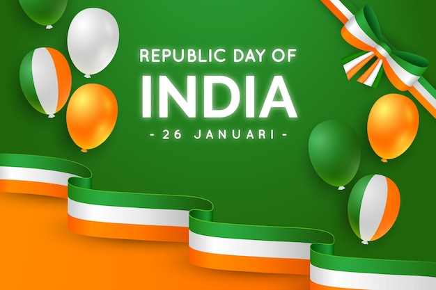 Realistic republic day with balloons