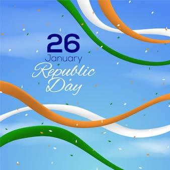 Realistic republic day with confetti