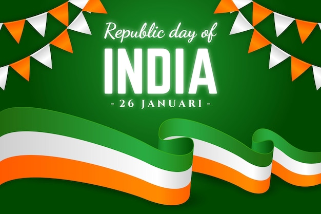 Realistic republic day with flag