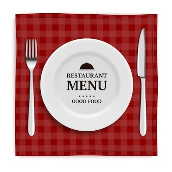 Realistic restaurant menu. template menu with illustrations of tableware and cutlery knife and fork