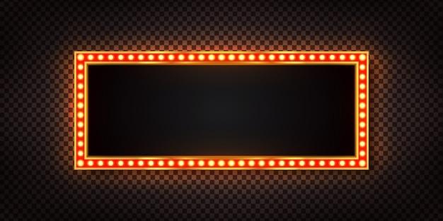 Реалистичный ретро рекламный щит с электрическими лампами для приглашения на прозрачном фоне. концепция старинного украшения.