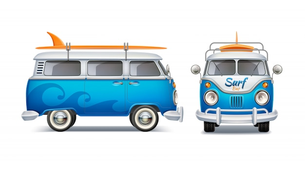 Realistic retro blue bus with surfboard