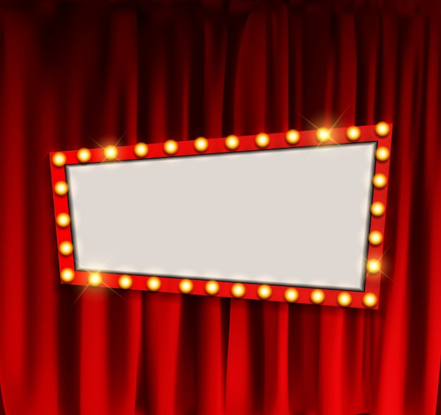 Realistic retro cinema announcement board with bulb frame on curtains.  illustration