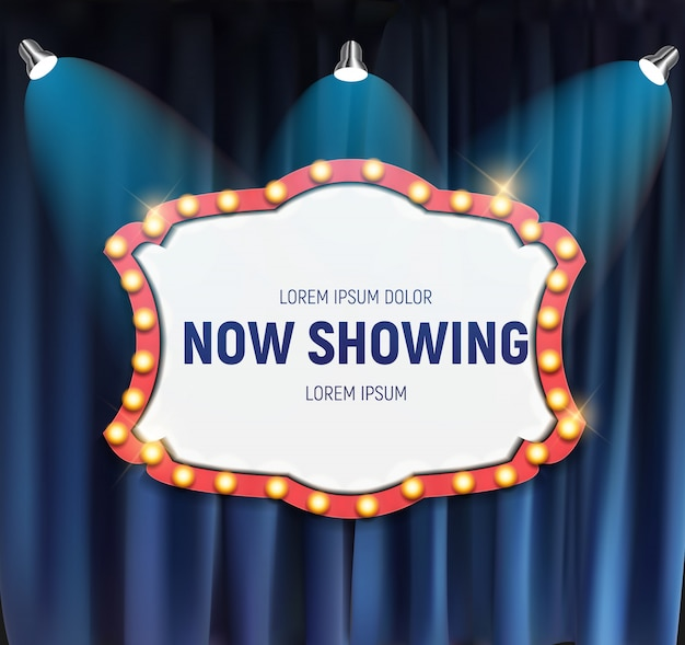 Realistic retro cinema now showing announcement board with bulb frame on curtains background.  illustration