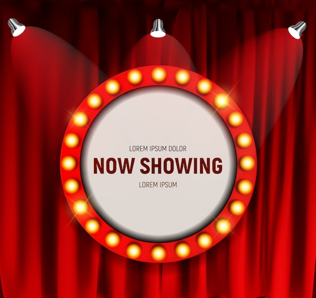 Realistic retro cinema now showing announcement board with bulb frame on curtains.  illustration