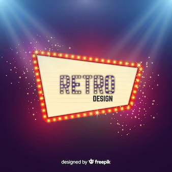 Realistic retro light billboard background