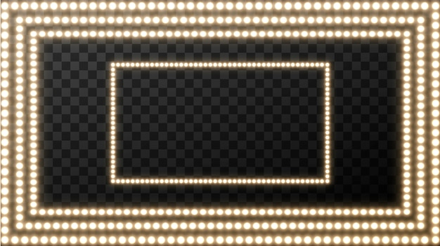 Realistic retro light bulb in the square. glowing movie signboard with golden light bulb with blank space for text.