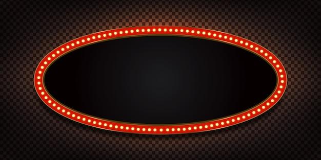 透明な背景に招待のための電灯と現実的なレトロなマーキー看板。ヴィンテージ装飾の概念。