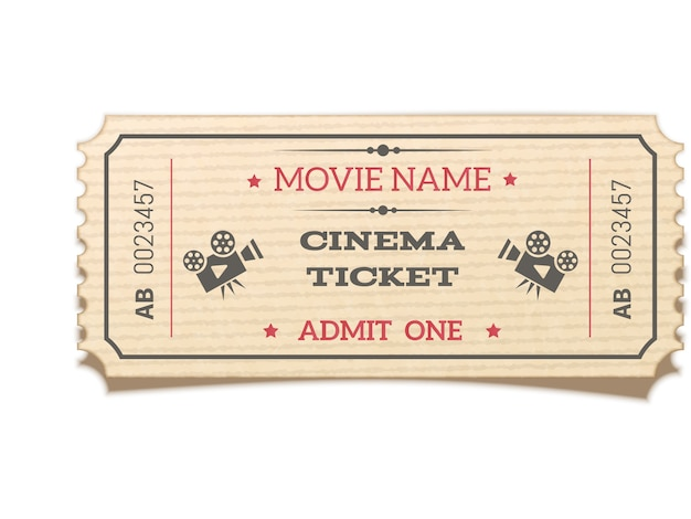 Realistic retro movie ticket isolated on white