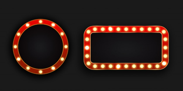 Realistic  retro neon billboards on the dark background. template for vintage decoration and signboard.