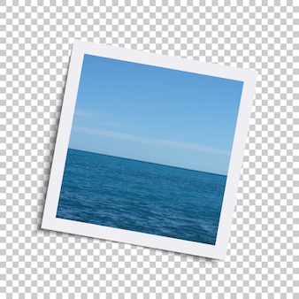 Realistic retro photo frame with ocean and sky on checkered .