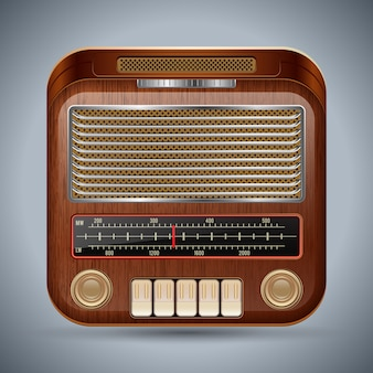 Realistic retro radio receiver vector icon
