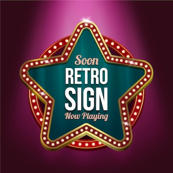 Realistic retro sign
