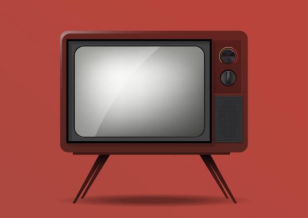 Realistic retro television illustration isolated