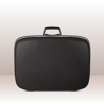 Realistic retro vintage leather black suitcase icon closeup.