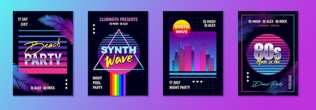 Realistic retro wave party set of four vertical posters with event advertising text