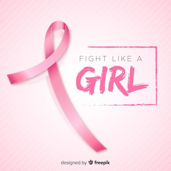 Realistic ribbon for breast cancer awareness event