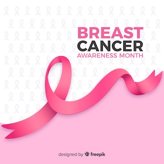 Realistic ribbon breast cancer awareness month Premium Vector