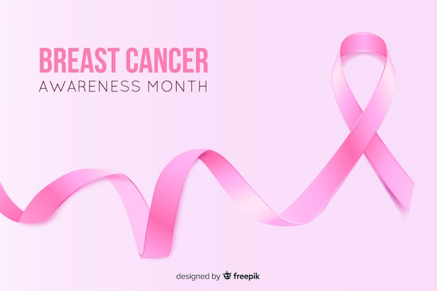 Realistic ribbon breast cancer awareness month