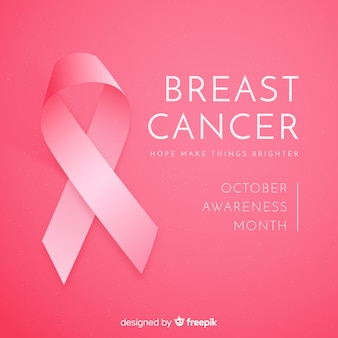 Realistic ribbon breast cancer awareness