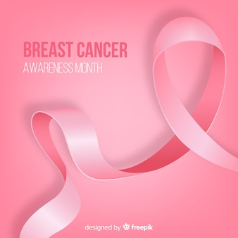 Realistic ribbon for breast cancer awarness
